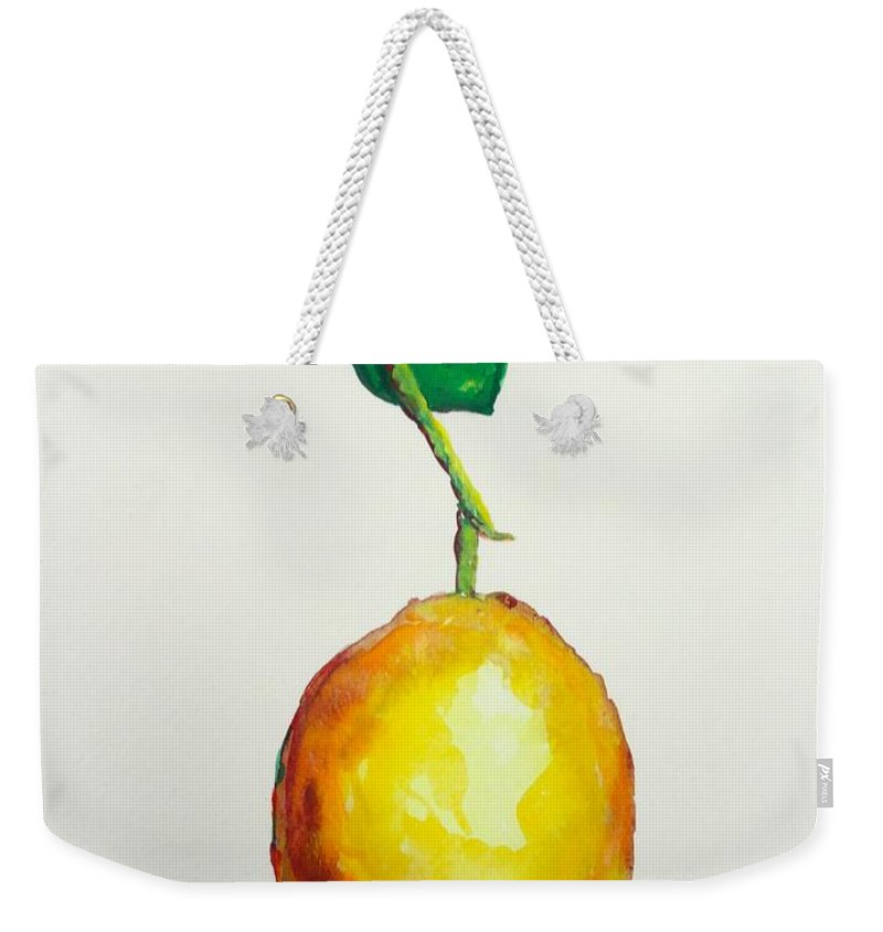 Lemon Weekender Tote Bag featuring the painting Left Hanging by Shannon Grissom
