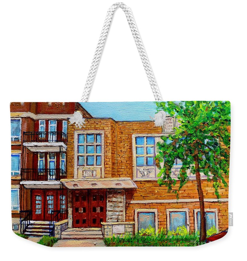 Montreal Weekender Tote Bag featuring the painting Legare And Hutchison Synagogue Montreal by Carole Spandau