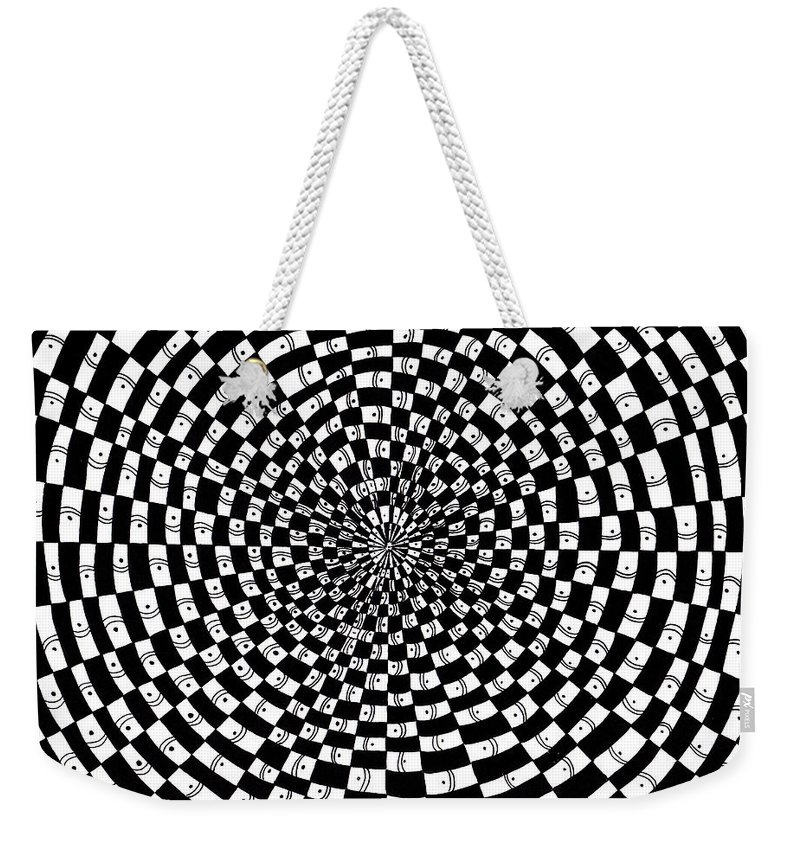 Abstract Weekender Tote Bag featuring the drawing Legend Of An Abstract Artist by Crystal Hubbard