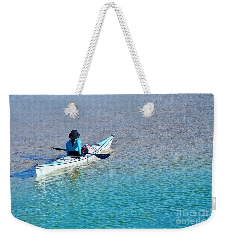 Photography Weekender Tote Bag featuring the photograph Leisure On The Lake by Kaye Menner