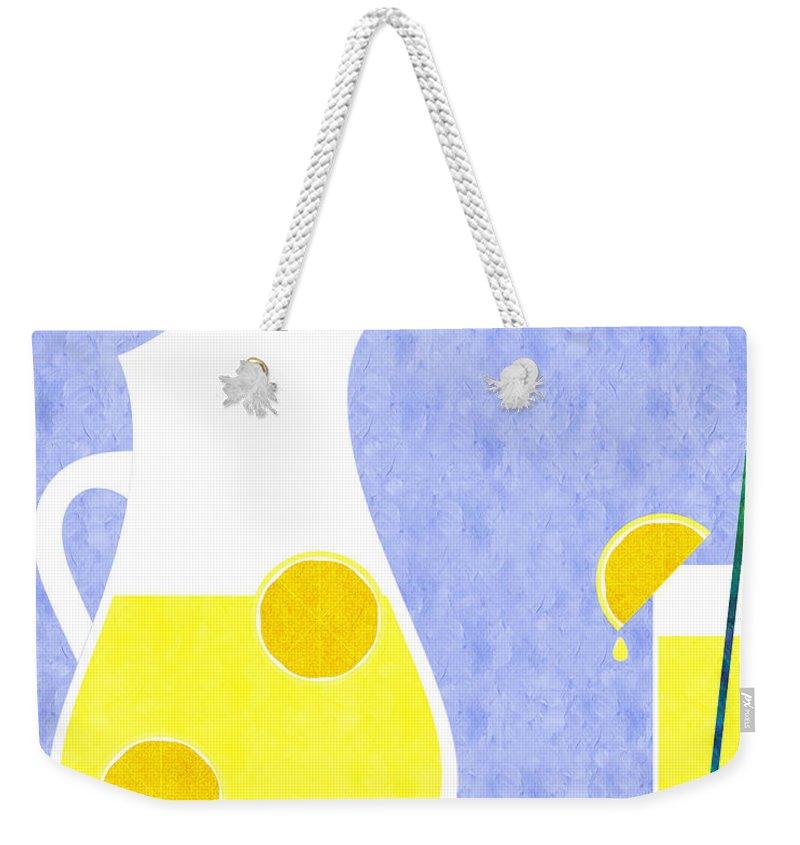 Lemonade Weekender Tote Bag featuring the digital art Lemonade And Glass Blue by Andee Design