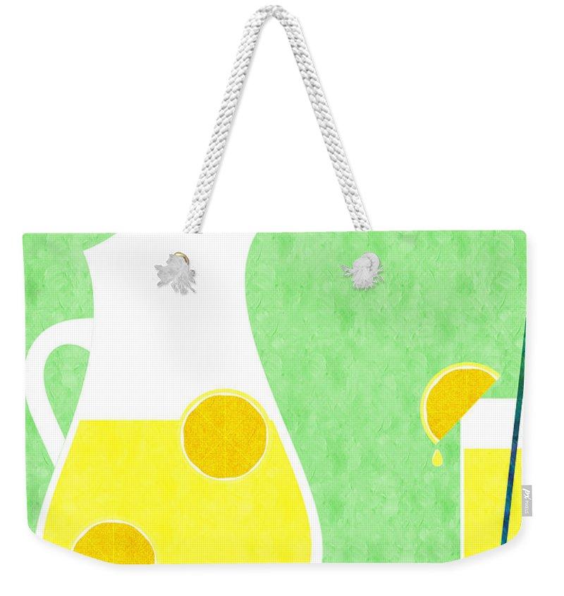Lemonade Weekender Tote Bag featuring the digital art Lemonade And Glass Green by Andee Design