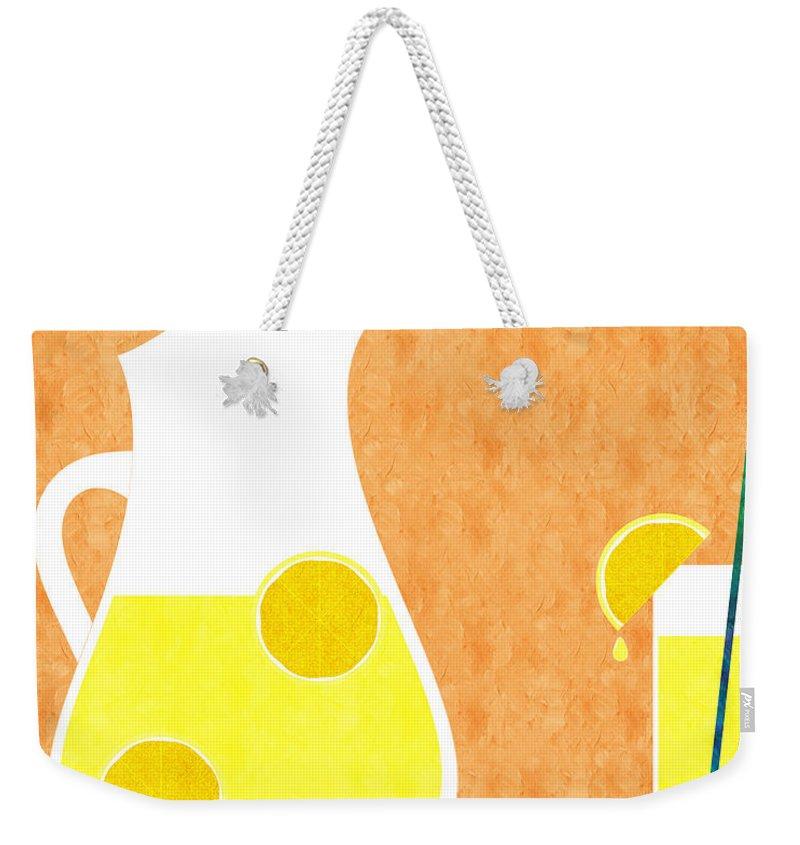 Lemonade Weekender Tote Bag featuring the digital art Lemonade And Glass Orange by Andee Design