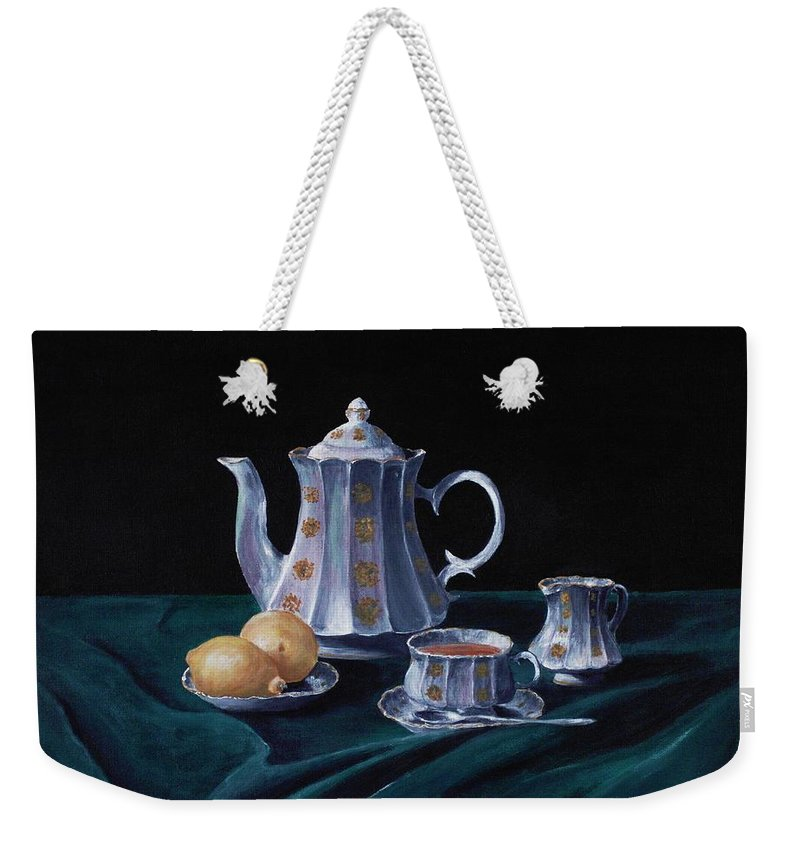 Cup Weekender Tote Bag featuring the painting Lemons And Tea by Anastasiya Malakhova