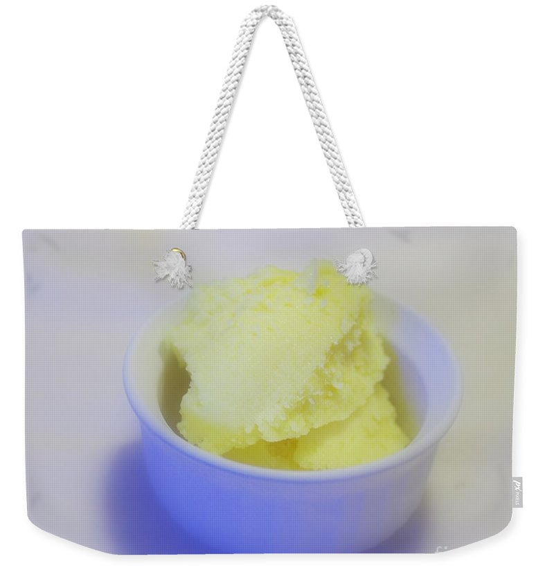 Lemon Gelato Weekender Tote Bag featuring the photograph Lemony Goodness by Kitrina Arbuckle