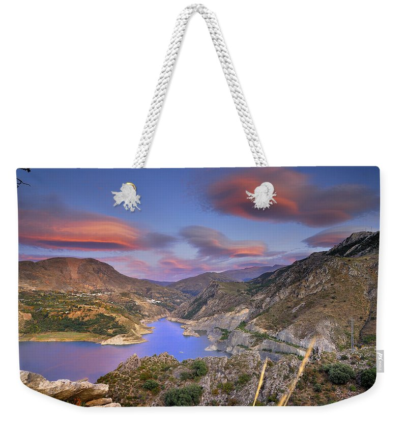 Sunset Weekender Tote Bag featuring the photograph Lenticular Clouds At The Red Sunset by Guido Montanes Castillo