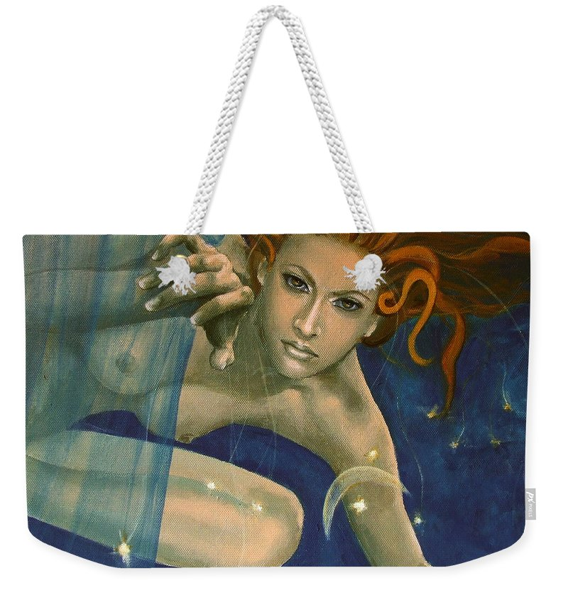 Fantasy Weekender Tote Bag featuring the painting Leo From Zodiac Series by Dorina Costras