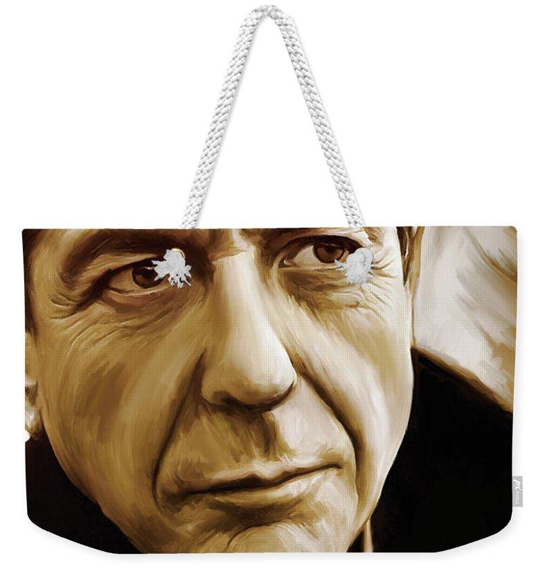 Leonard Cohen Paintings Weekender Tote Bag featuring the painting Leonard Cohen Artwork by Sheraz A