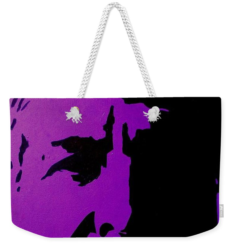Icon Weekender Tote Bag featuring the painting Leonard Cohen by John Nolan