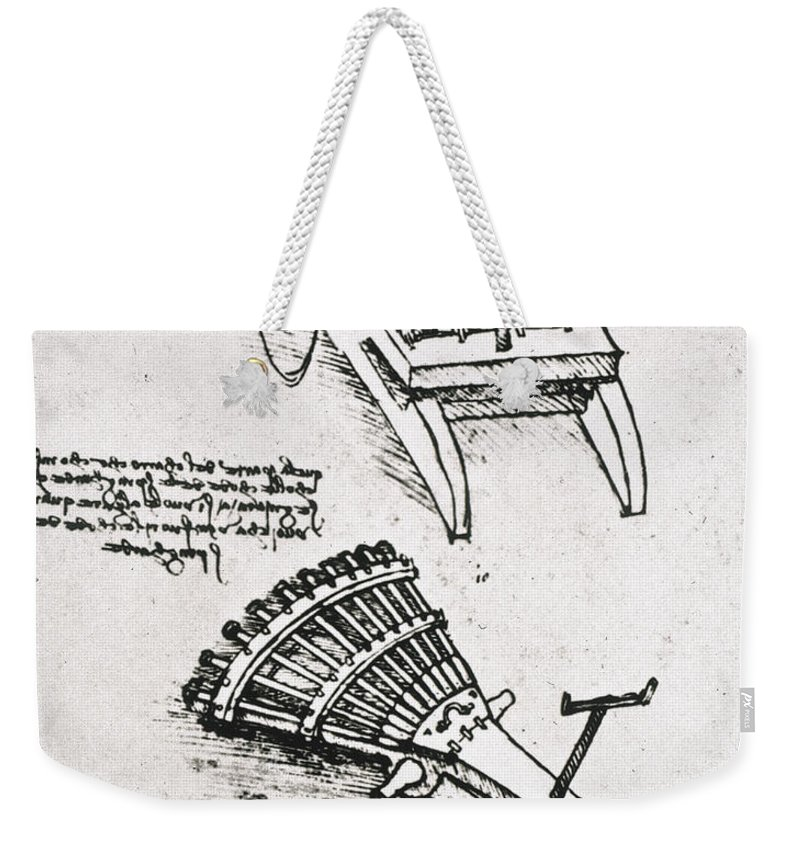 15th Century Weekender Tote Bag featuring the photograph Leonardo: Gun by Granger