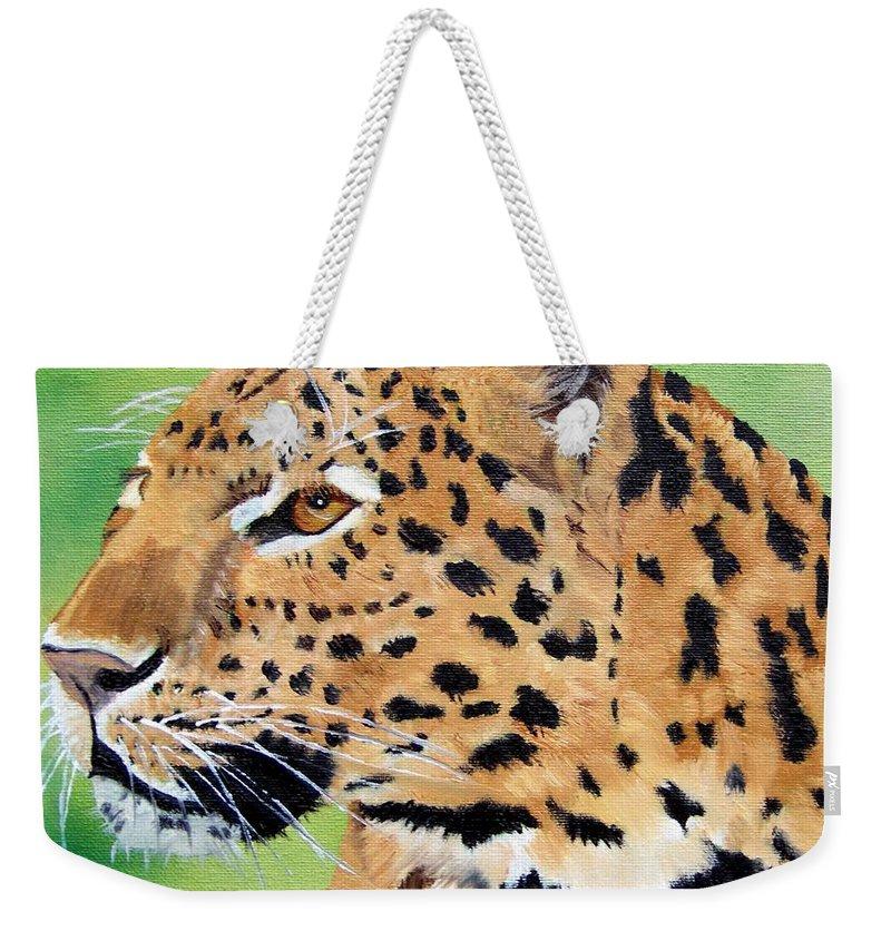 Leopard Weekender Tote Bag featuring the painting Leopard by Debbie LaFrance
