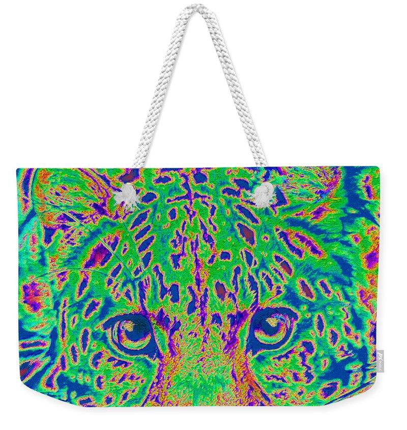 Leopard Weekender Tote Bag featuring the digital art Leopard Eyes Green by Jane Schnetlage
