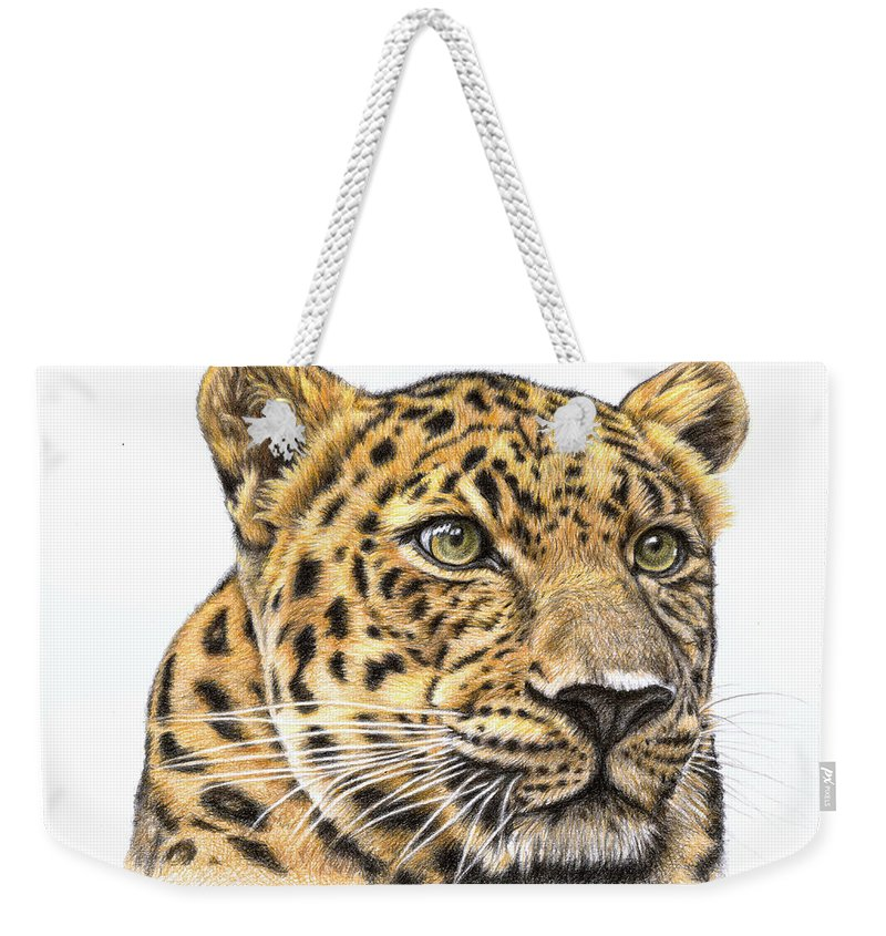 Leopard Weekender Tote Bag featuring the drawing Leopard by Nicole Zeug