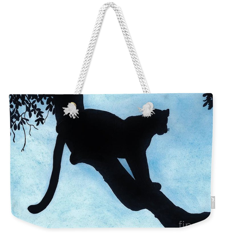 Leopard Weekender Tote Bag featuring the drawing Leopard - Silhouette by D Hackett