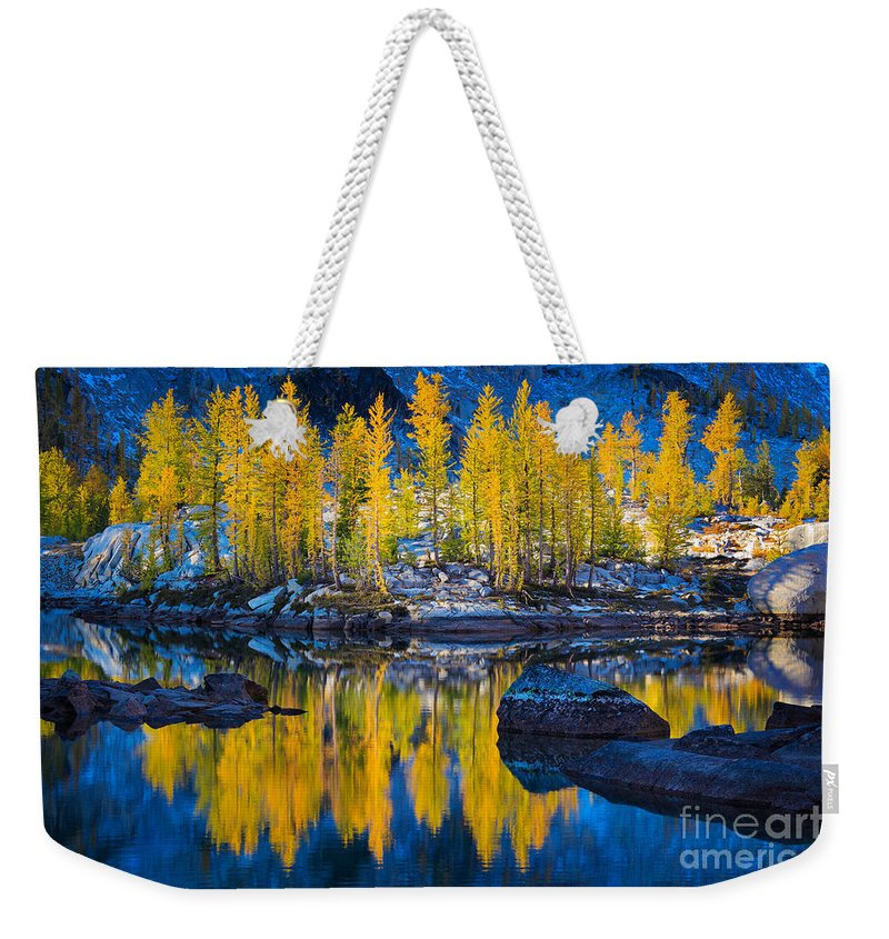 Alpine Lakes Weekender Tote Bag featuring the photograph Leprechaun Tamaracks by Inge Johnsson