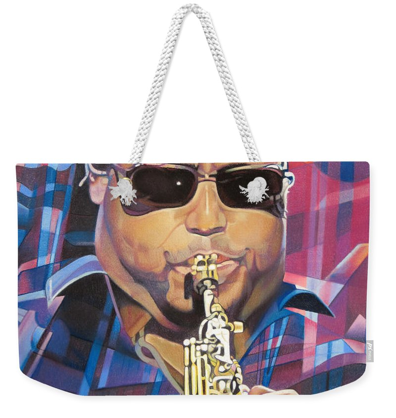 Leroi Moore Weekender Tote Bag featuring the drawing Leroi Moore And 2007 Lights by Joshua Morton