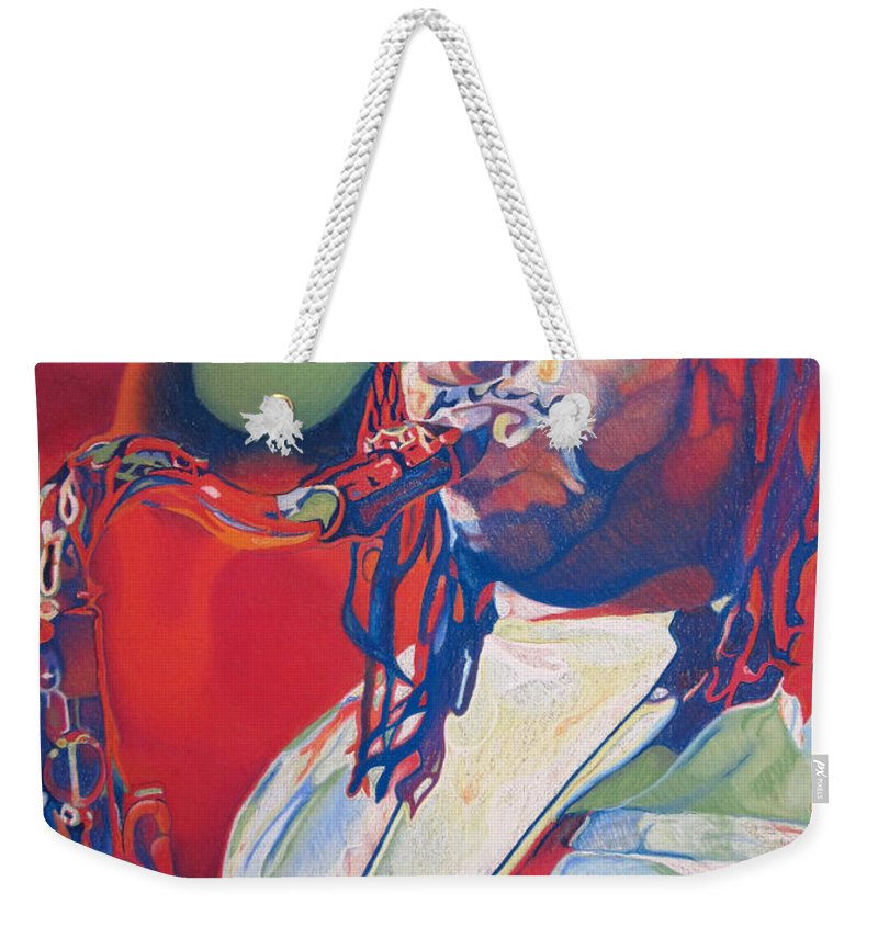 Leroi Moore Weekender Tote Bag featuring the drawing Leroi Moore Colorful Full Band Series by Joshua Morton