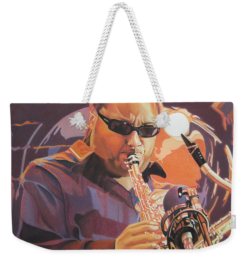 Leroi Moore Weekender Tote Bag featuring the drawing Leroi Moore Purple And Orange by Joshua Morton
