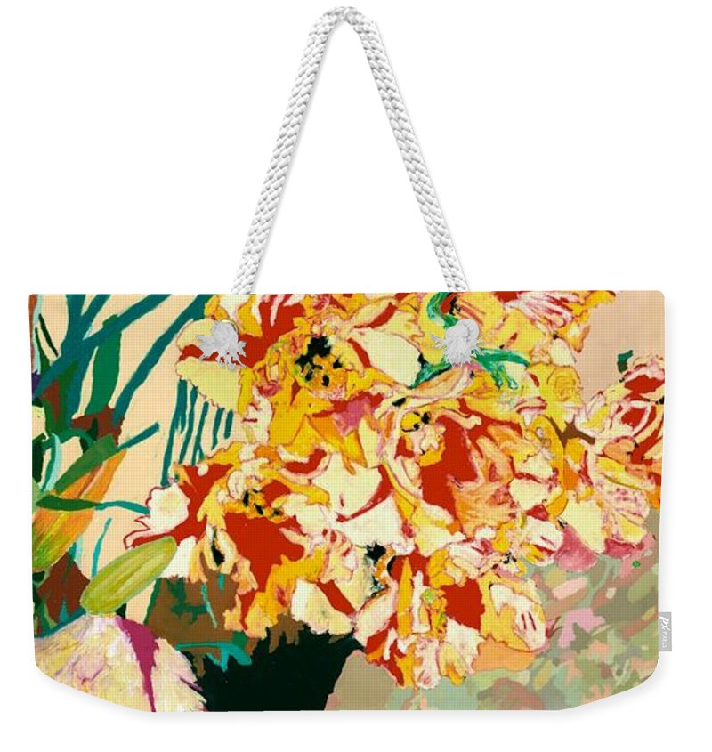 Landscape Weekender Tote Bag featuring the painting Les Fleur by Allan P Friedlander
