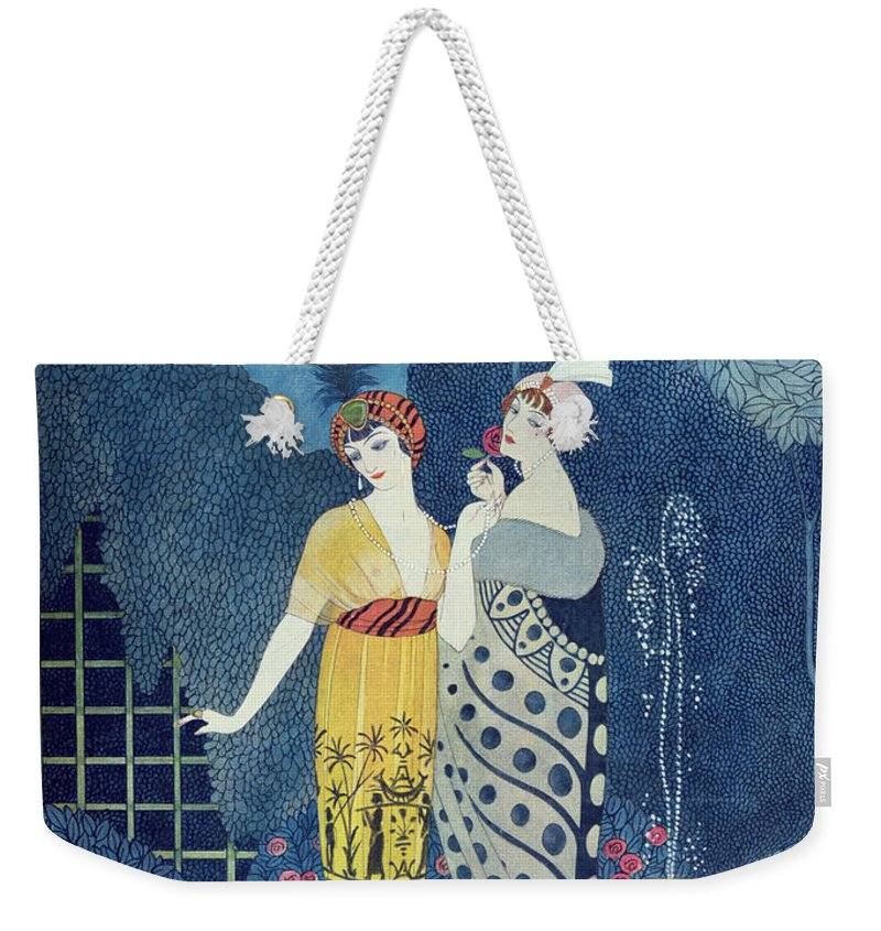 Art Deco Weekender Tote Bag featuring the painting Les Modes by Georges Barbier