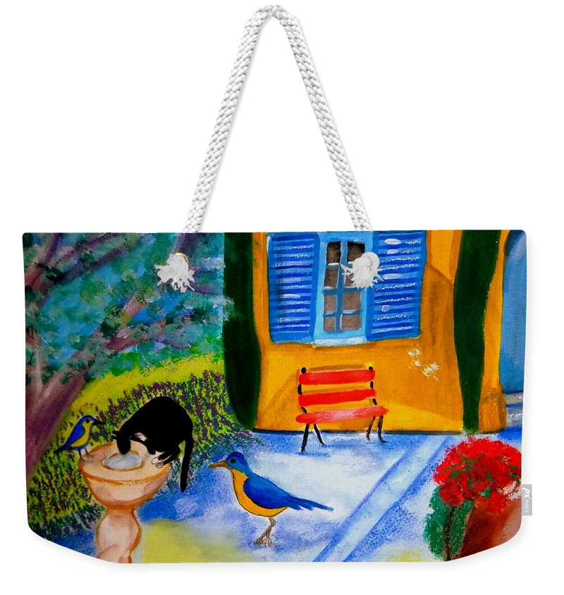 Provencale Gardens Weekender Tote Bag featuring the painting Les Petits Oiseaux Bleus De Provence by Rusty Gladdish