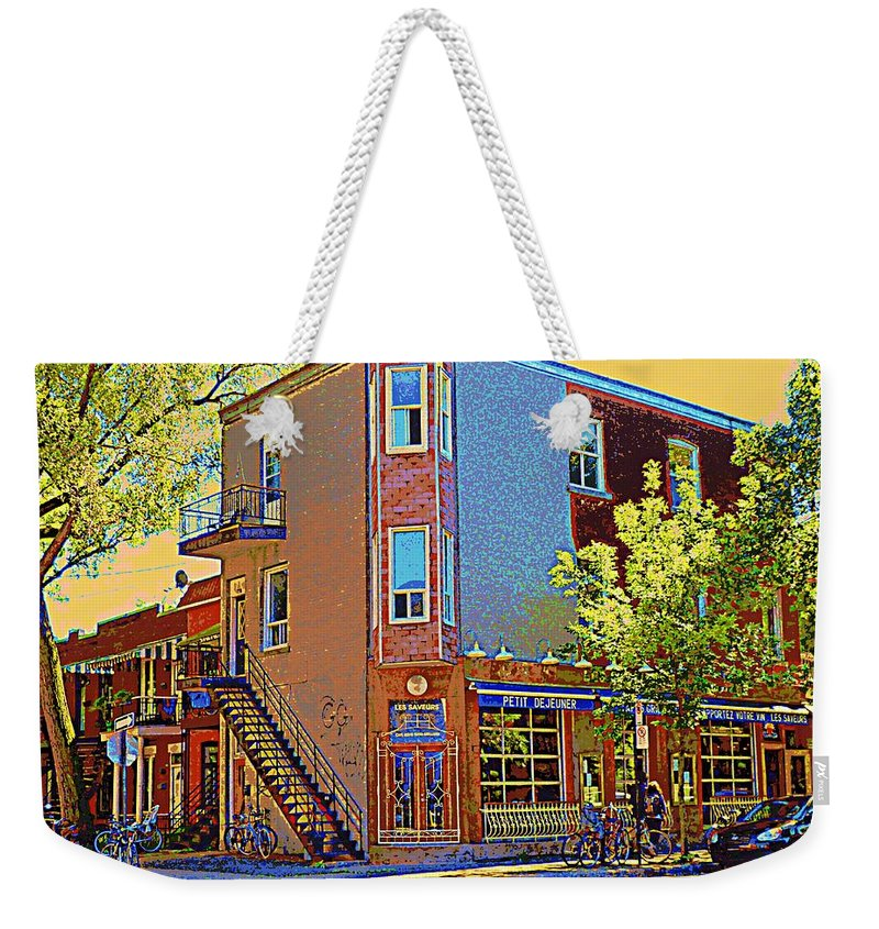 Montreal Weekender Tote Bag featuring the painting Les Saveurs Cafe Resto Grillades Tapas Petit Dejeuner Montreal French Cafe City Scene Carole Spandau by Carole Spandau