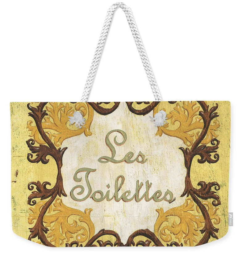 Les Toilettes Weekender Tote Bag featuring the painting Les Toilettes by Debbie DeWitt