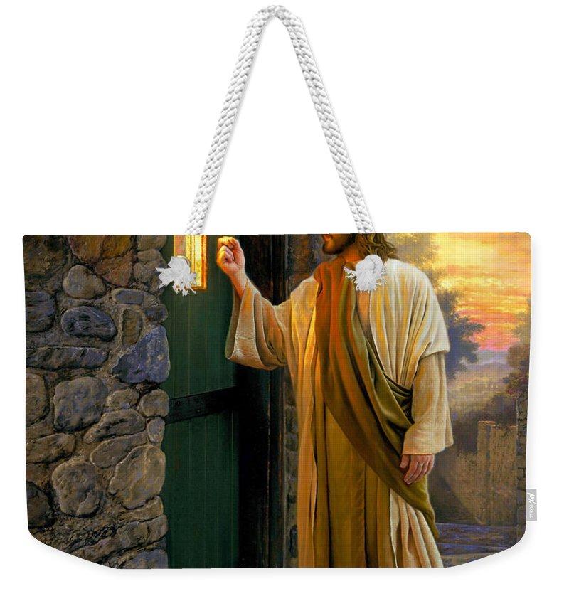 Jesus Weekender Tote Bag featuring the painting Let Him In by Greg Olsen