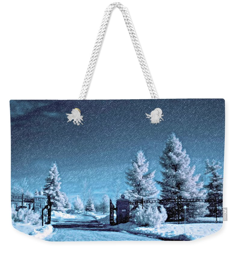 Snow Weekender Tote Bag featuring the photograph Let It Snow Blue Version by Steve Harrington