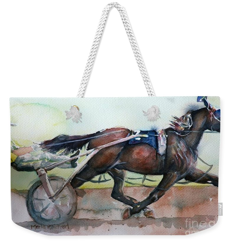 Equine Art Weekender Tote Bag featuring the painting Racehorse Painting In Watercolor Let's Roll by Maria's Watercolor