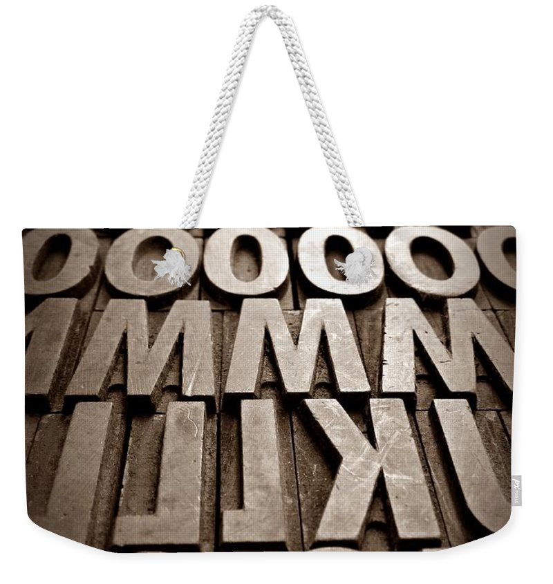Letters Sepia Weekender Tote Bag featuring the photograph Letters Sepia by Chalet Roome-Rigdon