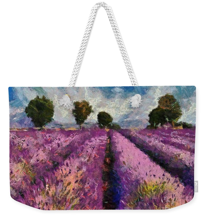 Lavender Field Weekender Tote Bag featuring the painting Levender by Dragica Micki Fortuna