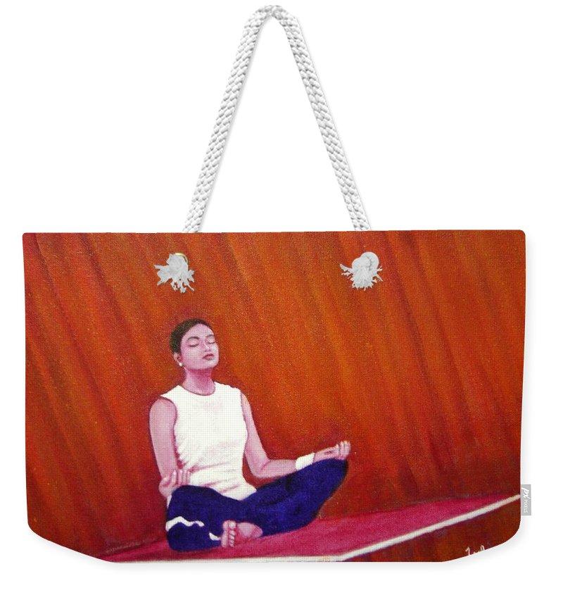 Levitation Weekender Tote Bag featuring the painting Levitation by Usha Shantharam