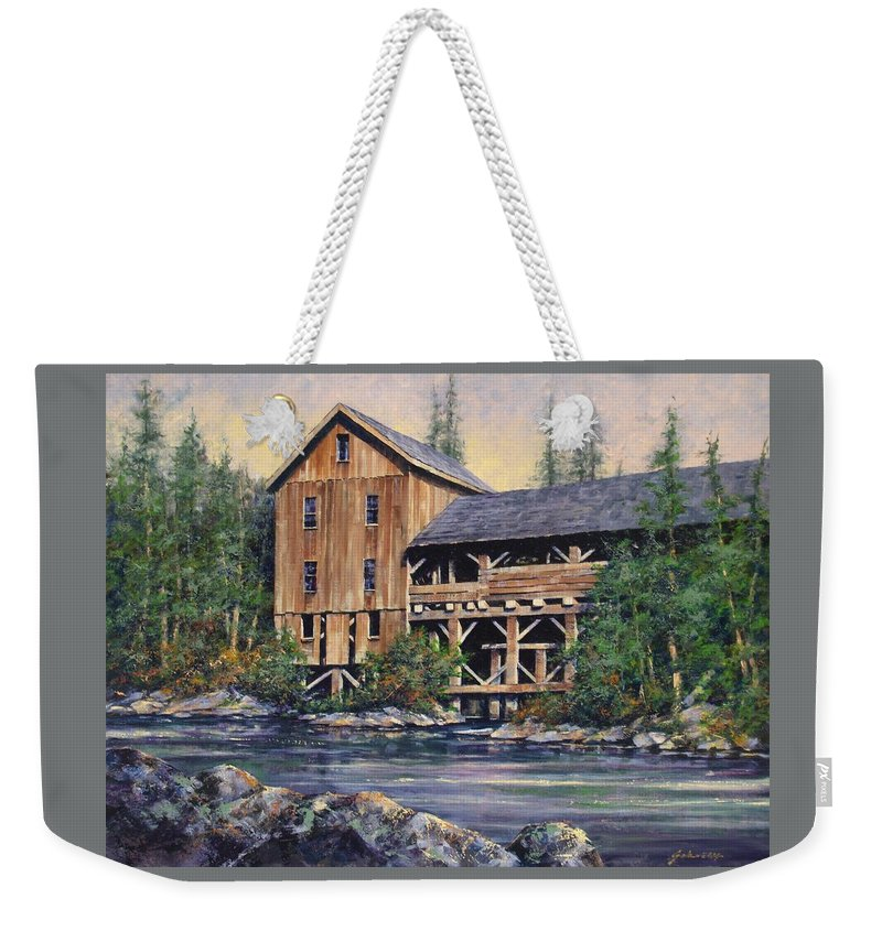 Grist Mills Weekender Tote Bag featuring the painting Lewisville Grist Mill Afternoon by Jim Gola