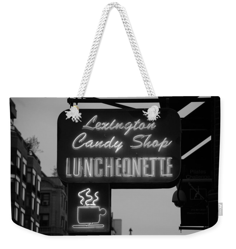 Scenic Weekender Tote Bag featuring the photograph Lexington Candy Shop In Black And White by Rob Hans