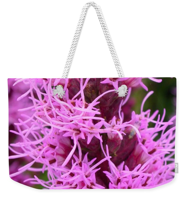 Liatris Spicata Weekender Tote Bag featuring the photograph Liatris Spicata by Cynthia Wallentine