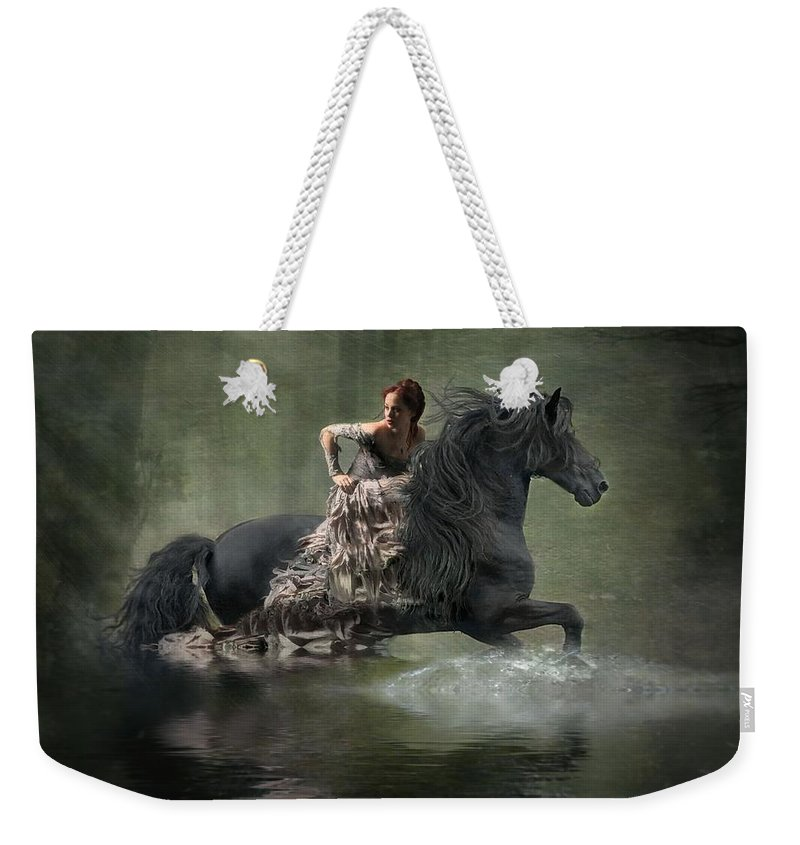 Girl Fleeing On Horse Weekender Tote Bag featuring the photograph Liberated by Fran J Scott