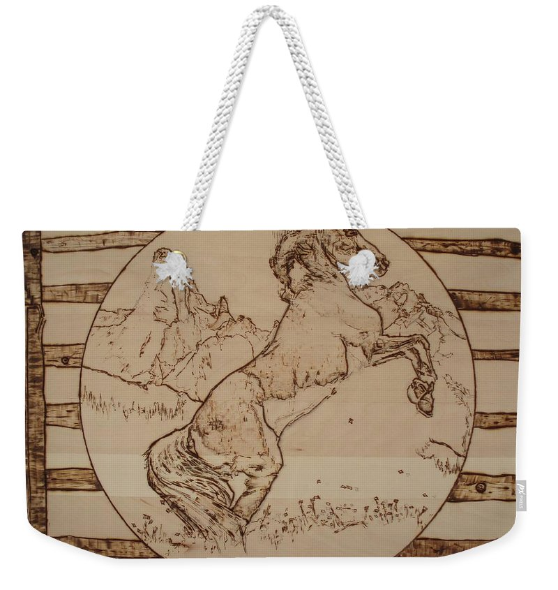 Pyrography Weekender Tote Bag featuring the pyrography Wild Horse by Sean Connolly