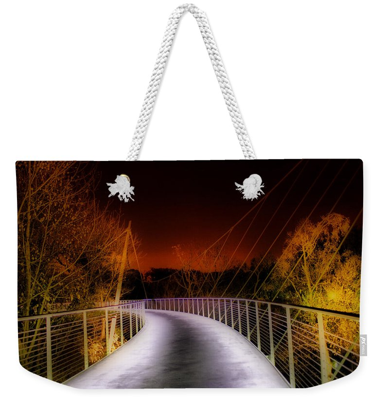 Greenville Weekender Tote Bag featuring the painting Liberty Bridge At Night by Lynne Jenkins