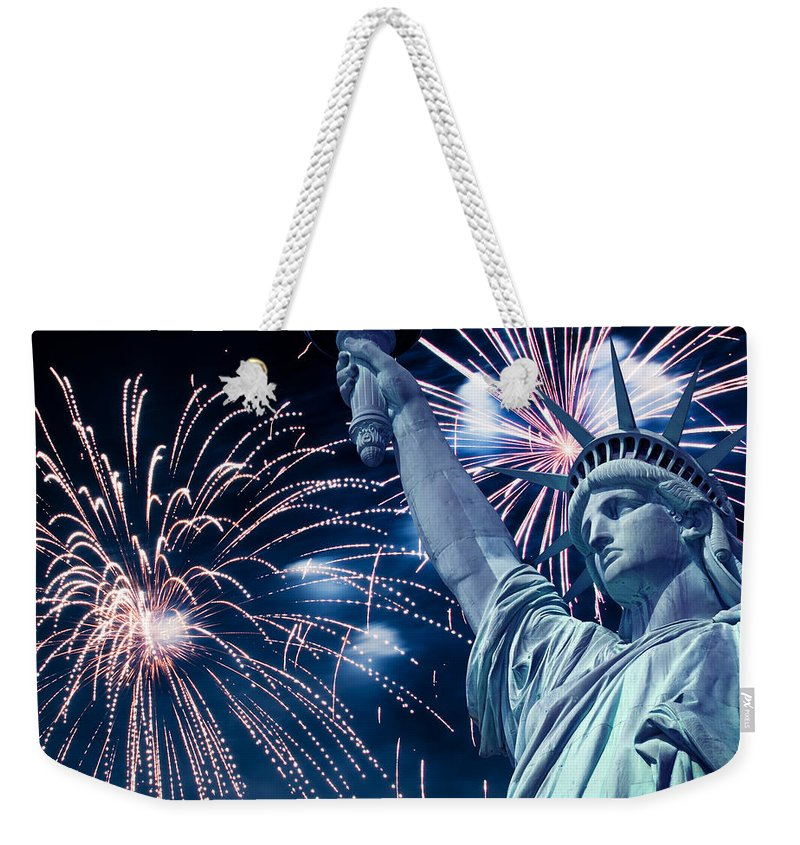 Statue Of Liberty Weekender Tote Bag featuring the photograph Liberty Fireworks by Delphimages Photo Creations