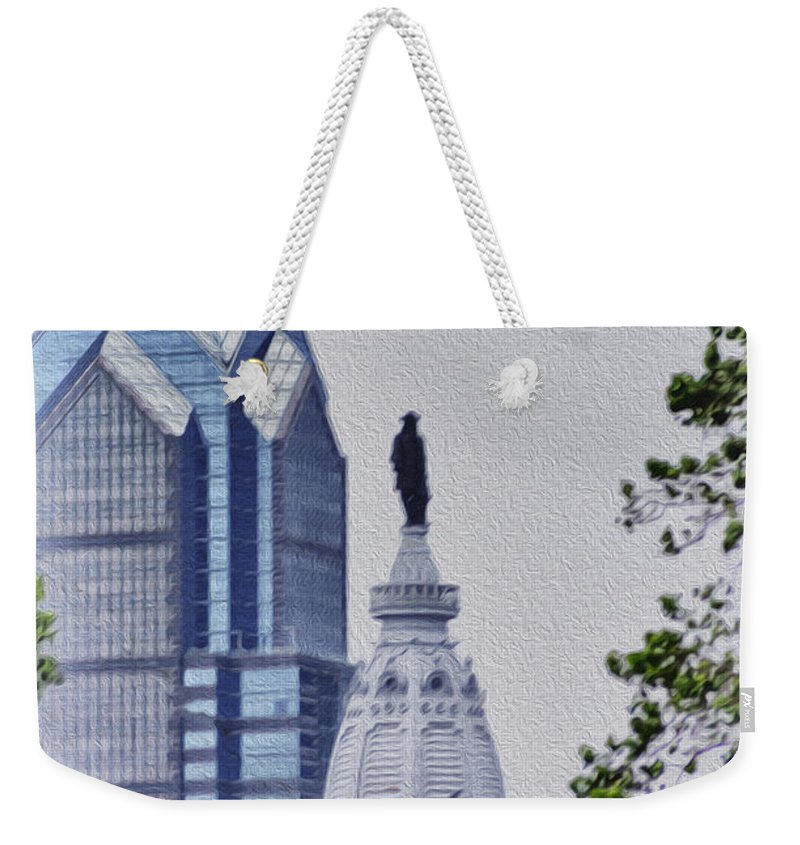 Liberty Weekender Tote Bag featuring the photograph Liberty Place And City Hall by Bill Cannon