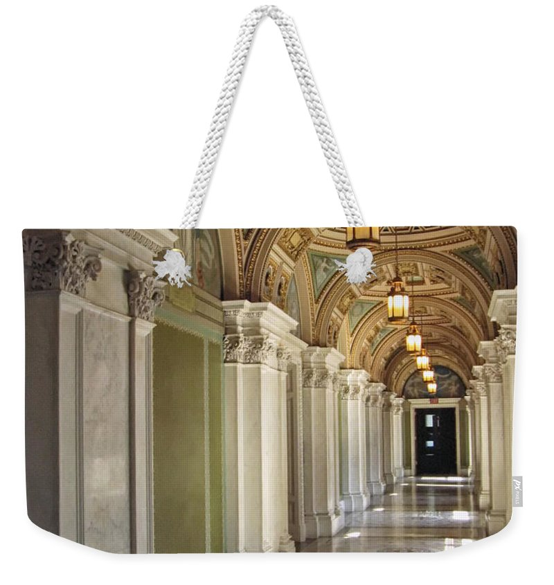 Washington Dc Weekender Tote Bag featuring the photograph Library Of Congress Hallway Washington Dc by Mary Lee Dereske