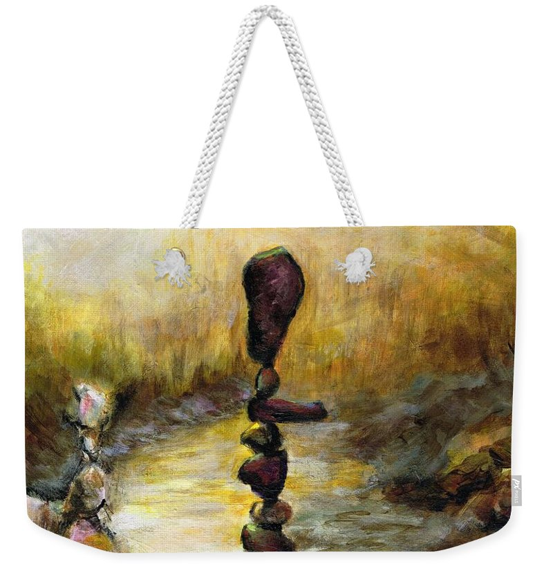 Zen Gardens Weekender Tote Bag featuring the painting Life Is A Balancing Act by Frances Marino