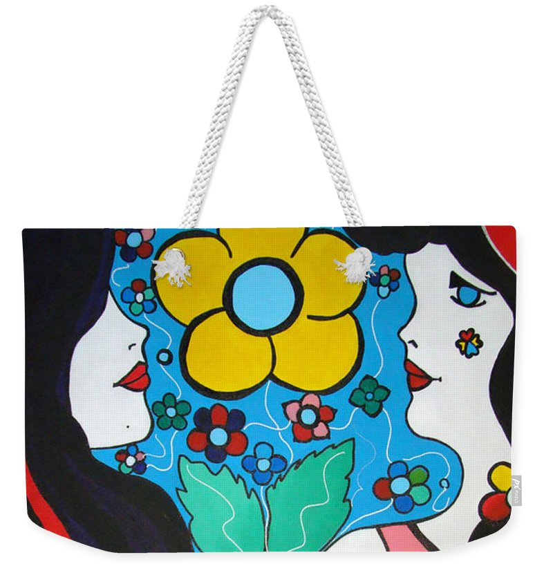 Pop-art Weekender Tote Bag featuring the painting Life Is Beautiful by Silvana Abel