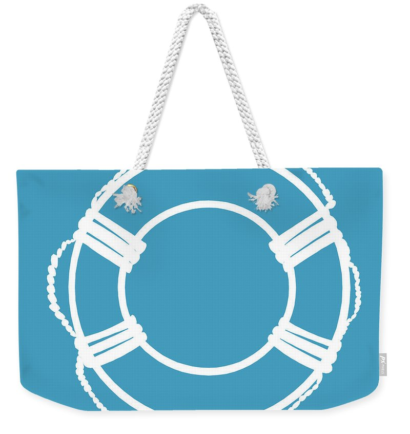 Graphic Art Weekender Tote Bag featuring the digital art Life Preserver In White And Turquoise Blue by Jackie Farnsworth