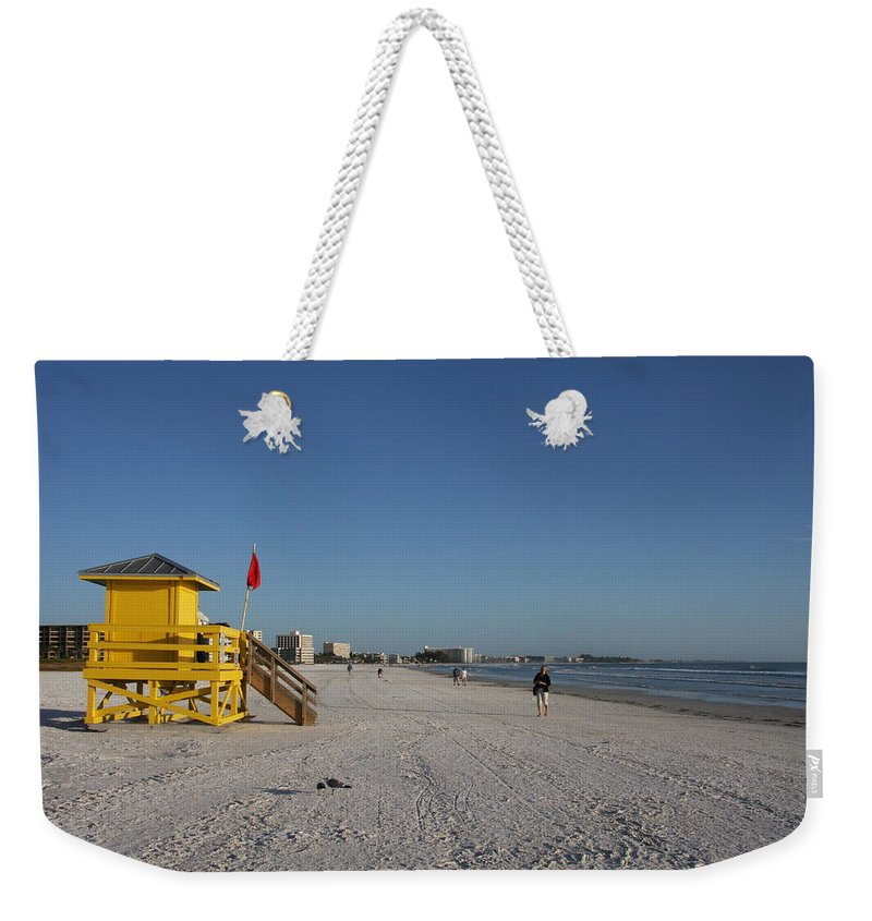 Lifegard Weekender Tote Bag featuring the photograph Lifeguard On Siesta Key by Christiane Schulze Art And Photography