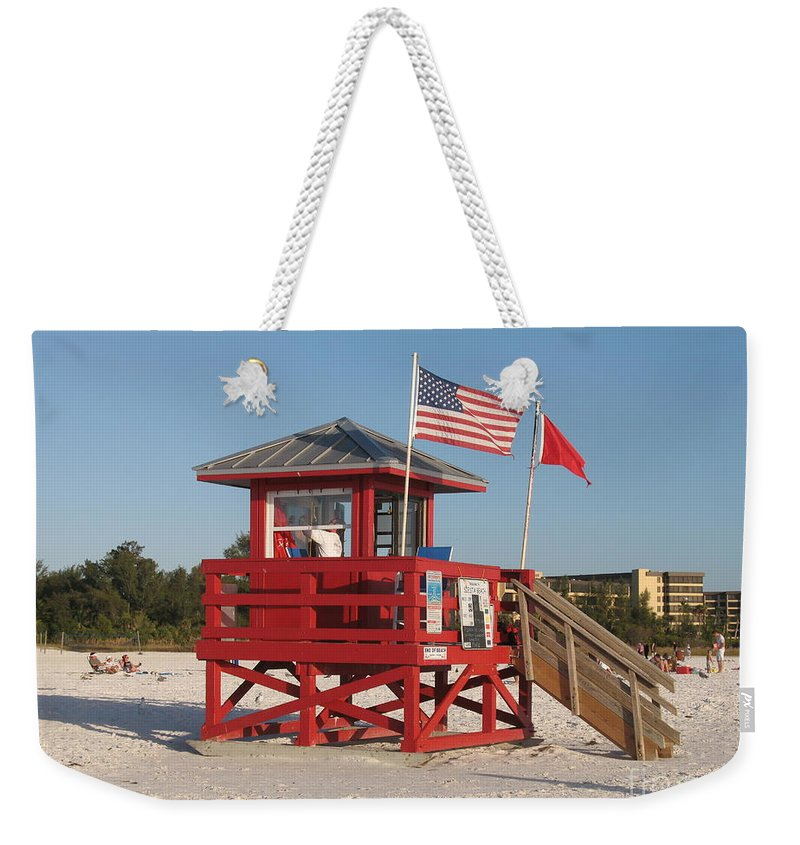 Beach Weekender Tote Bag featuring the photograph Lifeguard Siesta Beach by Christiane Schulze Art And Photography