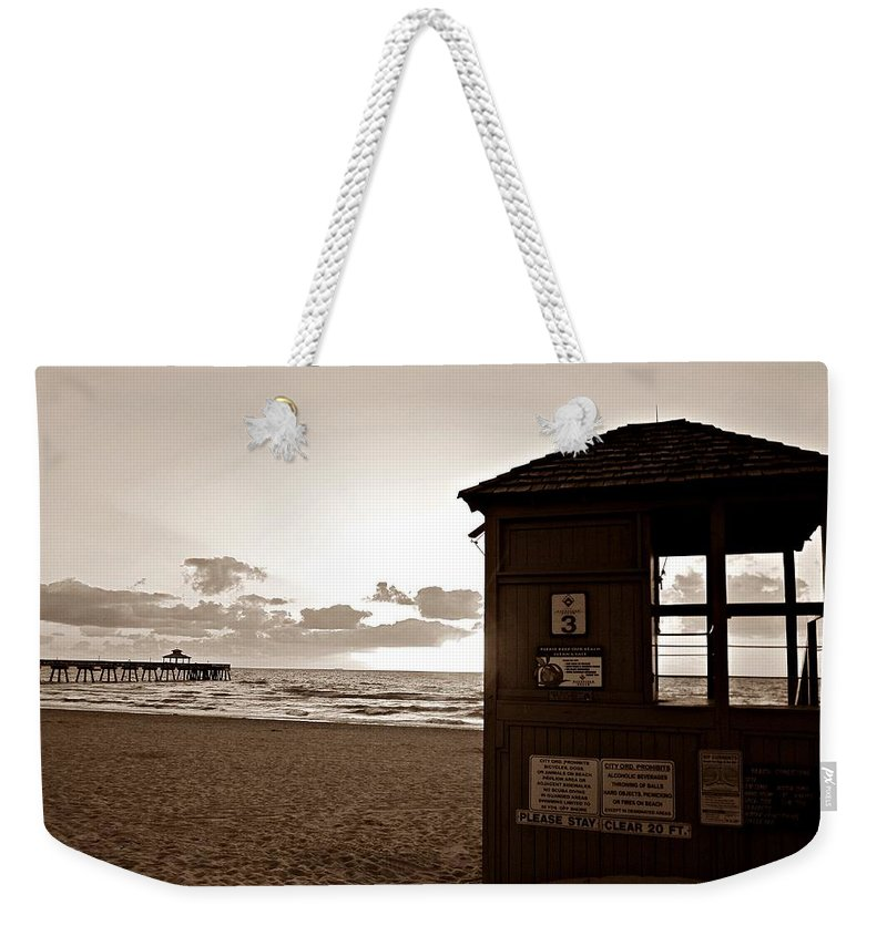 Florida Weekender Tote Bag featuring the photograph Lifeguard Tower Sunrise In Sepia by MTBobbins Photography