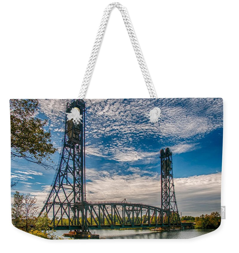 Guy Whiteley Photography Weekender Tote Bag featuring the photograph Lift Bridge 3d21789 by Guy Whiteley