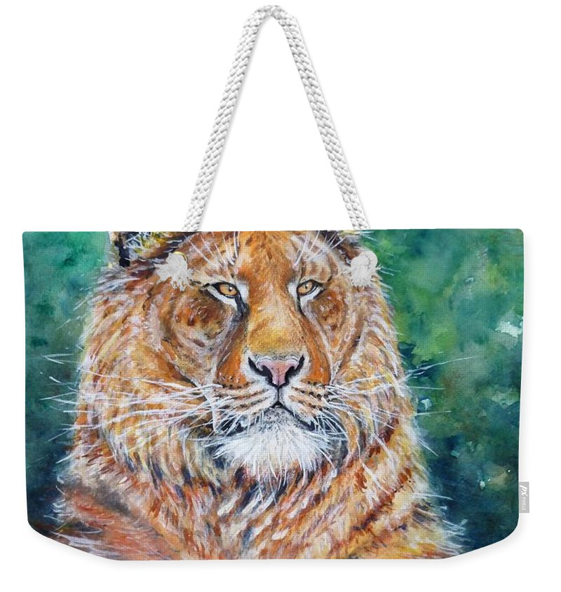 Liger Weekender Tote Bag featuring the painting Liger by Zaira Dzhaubaeva